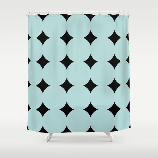 Geometric Shower Curtain Teal Black Abstract Art By Hlbhomedesigns