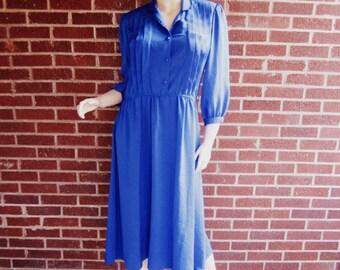 Vintage 80s Jonathan Martin Blue Swiss Dot Three Quarter Sleeve Secretary Dress