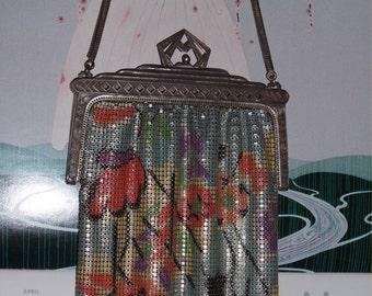 Festive Floral DECO Whiting & Davis BABY Mesh Purse--Big 1920s Vintage Flapper Enameled Bag w/ Rare MARCASITES Frame!