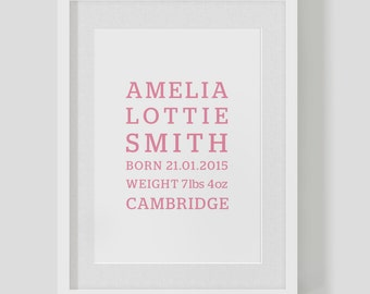 Personalised birth announcement baby girl — Christening name date weight print / poster — Nursery Art — FREE WORLDWIDE SHIPPING