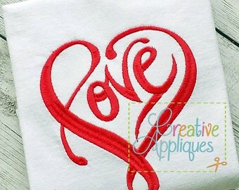 Love Heart Digital Machine Embroidery Design 4 Sizes