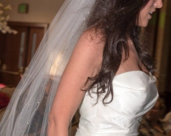 Wedding Veil- Fingertip Length with Swarovski Crystals