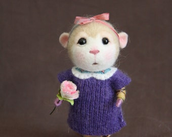 Made to Order~Needle Felted Mouse Angel - Collectible soft sculpture