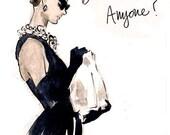"Fashion Illustration Art Print: Audrey Hepburn, ""Breakfast Anyone?"""