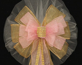 Pink Bling Gold Sparkle Wedding Pew Bow - Church Pew Decorations, Wedding Aisle Decorations, Wedding Ceremony Bow, Wedding Chair Bows