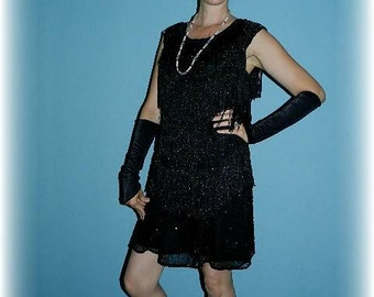 1920's Black Fringed & Beaded Flapper Plus Size  with Accessories