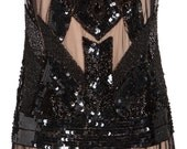 Black Nude Plus size Vintage 20s inspired Flapper Great Gatsby Beaded Charleston Wedding Bridesmaids art deco speakeasy handmade