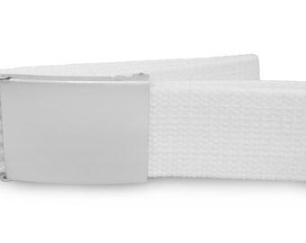 Custom engraved / personalised white canvas belt in velvet gift pouch - LR81white