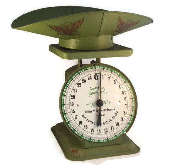 American family green kitchen scale with scoop rustic metal for Rustic kitchen scale
