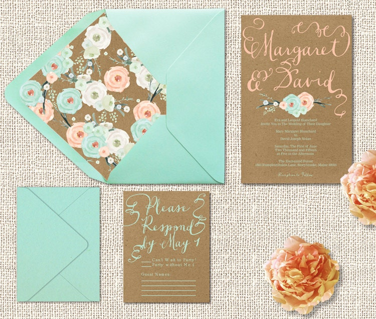 Kraft Wedding Invitations W Mint Peach Flowers With Rsvp Cards Rustic Chic Weddings Printed Wedding Cards In Mint Green N Coral Peach Onepaperheart Stationary Invitations