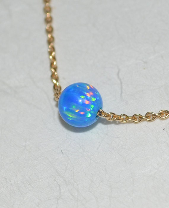 Dark Blue Opal Necklace, Tiny Opal Necklace, simple dainty coin/circle gold necklace, minimalist pendant necklace, bridesmaid jewelry