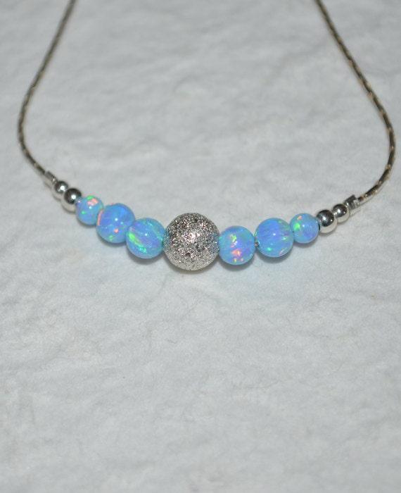 Blue Opal Bracelet, Opal Jewelry, opal ball/bead bracelet, opal silver bracelet, simple/elegant tiny dot horizontal bar bracelet