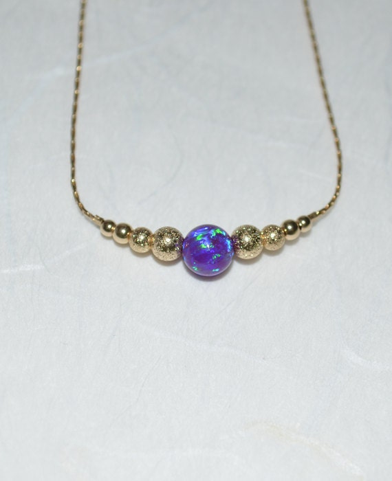 Purple Opal Necklace, Tiny Opal Dot Necklace, simple dainty coin/circle gold necklace, horizontal bar necklace, bridesmaid opal jewelry