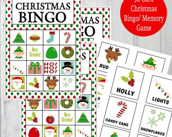 Printable Christmas Bingo & Memory Game - Instant Download - 30 Bingo Cards, 20 Calling Cards, 20 Memory Card Pairs, 2 Backgrounds  - Dots