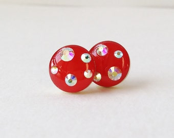 Red Earrings, Sparkly Pink Red Stud Earrings, Rhinestone Pink Stud Earrings, 10 mm Round Stud Earrings, Hypoallergenic, Resin Jewelry
