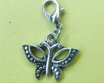 Dangle Butterfly #1 Silver for Bracelets, Floating Charm Pendants, Necklaces & Keychains  D027