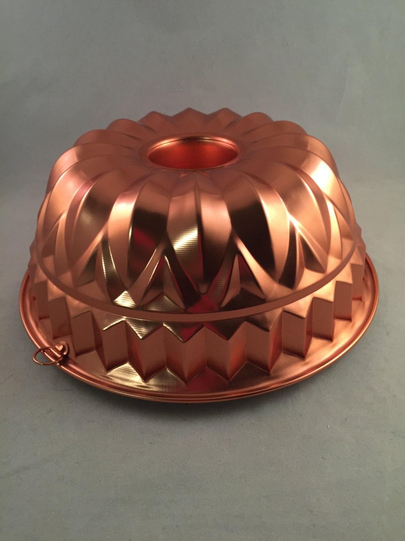 Vintage Copper Bundt Style Jello Mold Cake Pan Kitchen Decor