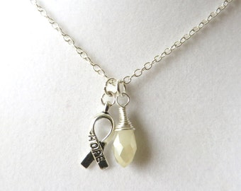 White Awareness Ribbon  Hope Survivor Silver Ribbon Pendant Necklace You Choose Ribbon Design