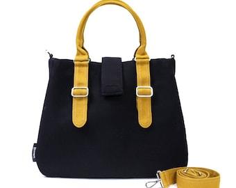 POPPY / Large / Ship in 5 days / Black / Lined with Black / Adjustable Strap and Elastic Pockets / Diaper Bag / Handbag / new mom