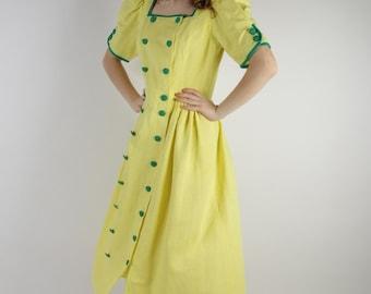 Linen Dirndl Dress Alpen Style Yellow Green German Austrian Bavarian Folk National Costume Sound of Music Oktoberfest