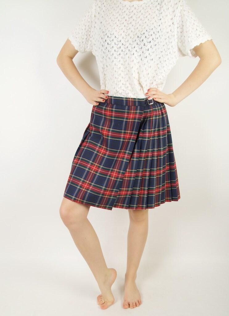 tartan plaid pleated wrap skirt blue green by