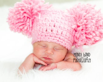 Baby Girl Pom Pom Crochet Hat, Baby Accessories, Easter, Newborn Size, Infant Hat , Baby Beanie Pink Baby Pom Pom Hat