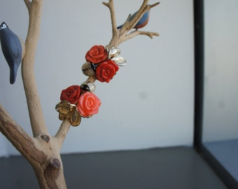 Red and Coral Floral and Gold-Tone Leaves Clip On Earrings by Replica (Made in Italy)