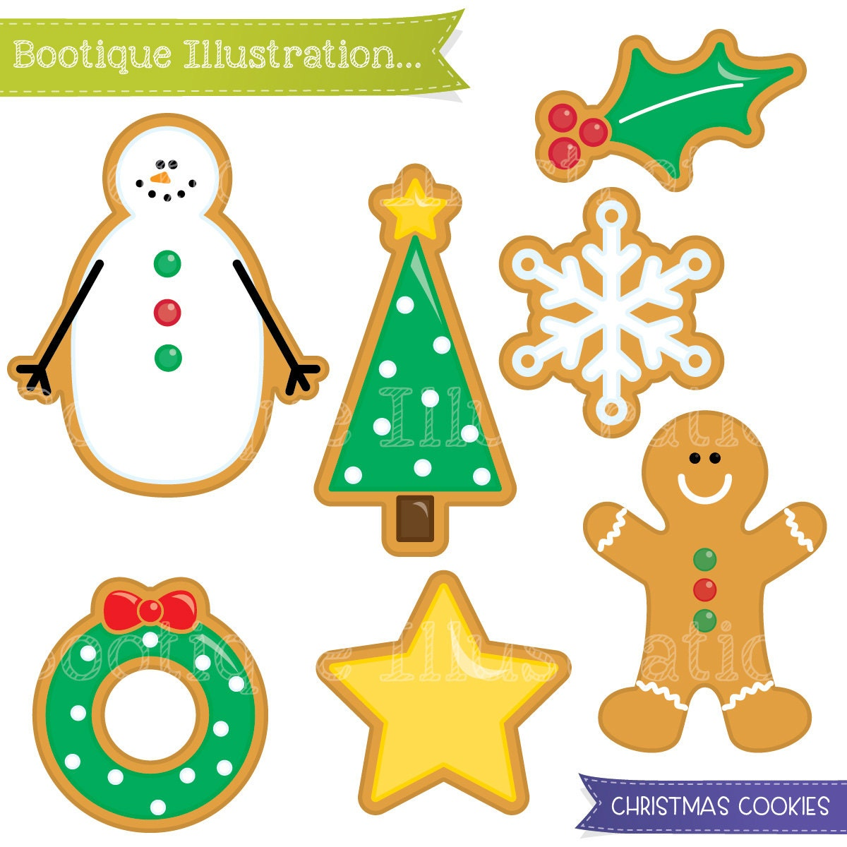 Christmas Cookies Clipart Set. Xmas Cookies Digital ...