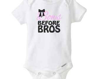 bows before bros onesie, baby girl onesie, cotton, baby girl, pink, purple, bow