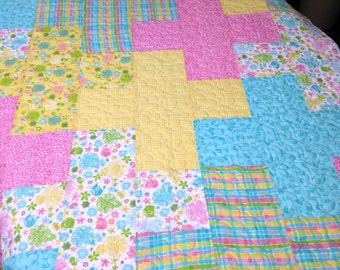Baby Crib Quilt, Toddler Plus Quilt, Pink Yellow Nursery Bedding
