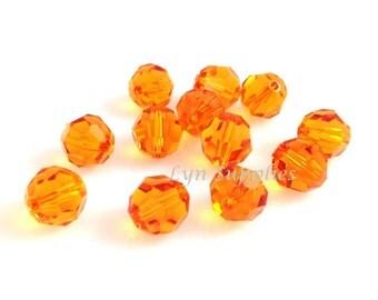 6mm 5000 TANGERINE Swarovski Crystal Round Bead Bright Orange 24 pieces