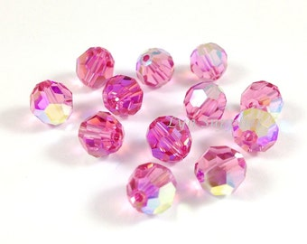 24pcs 6mm ROSE AB 5000 Swarovski Crystal Faceted Round Beads