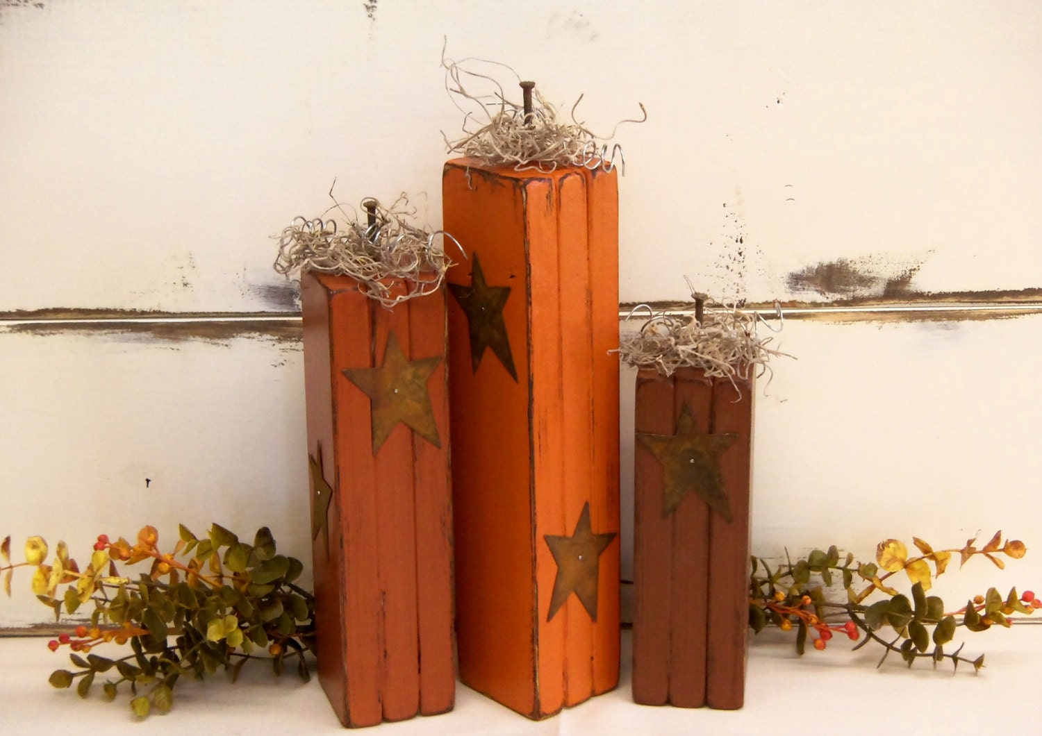 Wooden pumpkins fall decorations primitive by corneroftheshop