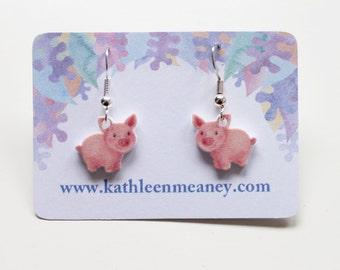 Pig drop animal earrings