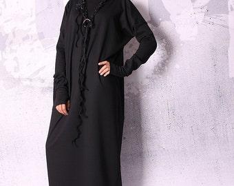 Long dress, loose dress, black dress, maxi dress, tunic dress, long sleeved dress, simple dress  - UM-046-PU