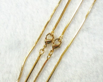 """18"""" Gold Plated Snake Chains With Losbter Clasp -- Wholesale Bulk Sale Handmade Craft Supply Gold Plated Accessory Charm Necklace 4"""