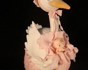 Girl Baby Shower Decorations, Baby Girl Cake Topper, Boy Baby Shower Decorations, Baby Boy Cake Topper, Girl Baby Shower Stork Centerpiece