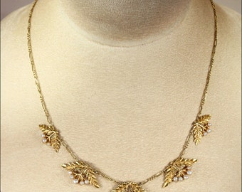 Antique Art Nouveau French 'Cherries' Necklace with Pearls in 18k Gold