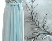 "Vintage 1960s Jean Allen powder blue chiffon prom dress 42"" bust"