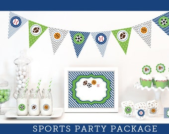 Sports Theme Baby Shower Sports Baby Shower Decorations Sports Baby Shower Banner Cupcake Toppers Sports Baby Shower Theme KIT (EB4000SPT)