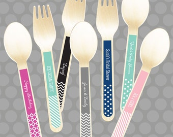 Wooden Dessert Spoons - Personalized Ice Cream Spoons - Chevron Spoons - Disposable Wooden Cutlery (EB3065P) set of 24