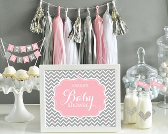 Pink and Grey Baby Shower Decor - Pink and Gray Chevron - Baby Shower Sign Girl - Pink Baby Shower Decoration (EB3058B) - Printed SIGN ONLY