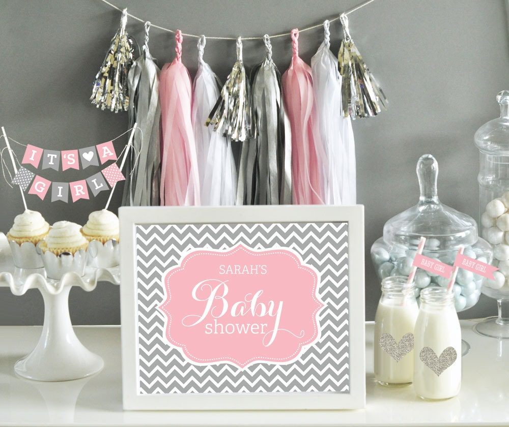 Pink and grey baby shower decor pink and gray chevron baby - Baby shower chevron decorations ...