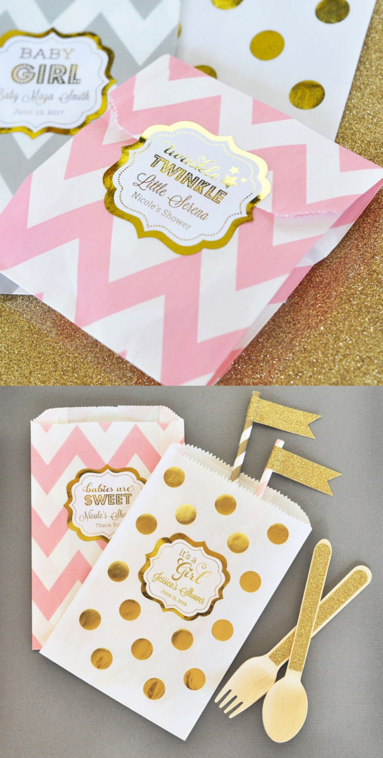 twinkle twinkle baby shower favor bags pink and gold birthday