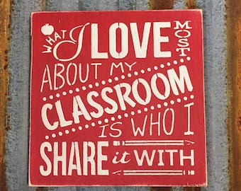 What I Love Most About My Classroom - Handmade Wood Sign