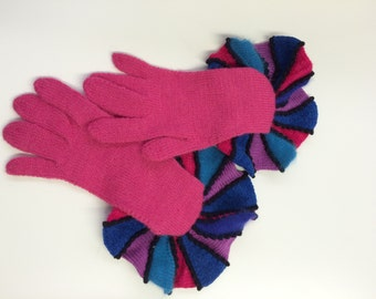 SALE Fuchsia Knitted Gloves, Shocking Pink Gloves, Women's Pink Gloves, Bright Pink Gloves, Pink Alpaca Gloves