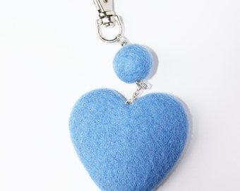 Wool Needle Felted Keychain Bag Charm with Blue Heart  Key Ring Christmas Valentines Mother Day Present  Gift