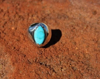 Argentium Silver Ring with Arizona Turquoise Natural Stone