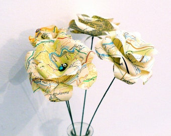 Map flowers,  paper roses, atlas paper, upcycled paper decoration, paper flower, table decor, wedding