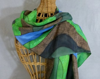 "Silk Scarf Green, Brown, and Blue ""River Delta"", Hand Painted Silk Scarf, Green Scarf"
